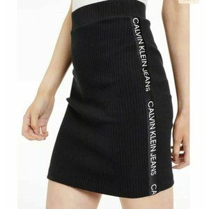 Calvin Klein Jeans Skirt Small Black Ribbed Stretchy Knit Fitted Pull On Logo